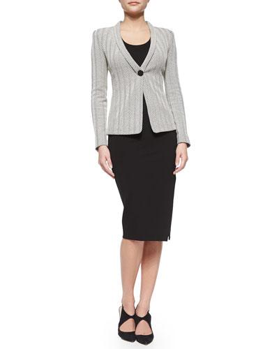 Herringbone Shawl-Collar Blazer, Slinky Jersey Tank Top & Asymmetric Slit Pencil Skirt