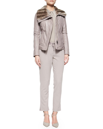 Rabbit Fur-Trimmed Leather Jacket, Twist-Front Charmeuse Blouse & Drawstring Straight-Leg Ankle Pants
