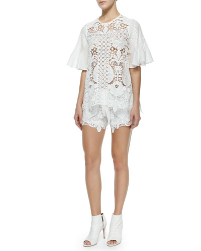 Emmanuel Crochet Bell-Sleeve Top & Drawstring Shorts