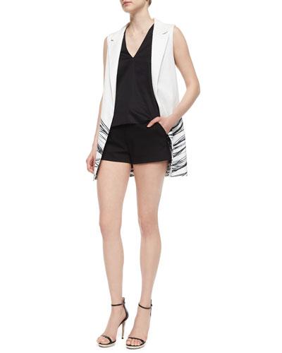 Aguilar Wave-Print Long Vest, Norman Silky Jersey Top & Neri Dress Shorts