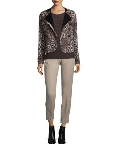 Asymmetric Button-Front Cheetah Jacket, Short-Sleeve Textured Underpinning Top & Slim-Leg Cuffed Pants