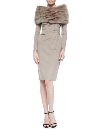 Rabbit Fur Eternity Scarf & Side-Gathered Jersey Dress