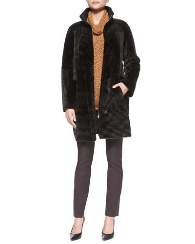 Reversible Grid Pattern Shearling Fur Coat, Slouchy Turtleneck Knit Sweater & Stretch-Inset Twill Leggings