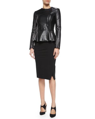 Asymmetric Leather Peplum Jacket, Slinky Jersey Tank Top & Cloud-Print Charmeuse Blouse