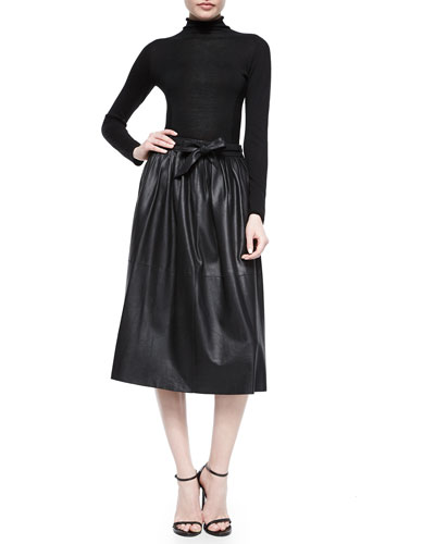 Mixed-Knit Turtleneck Top & Leather Full Skirt w/Tie Belt