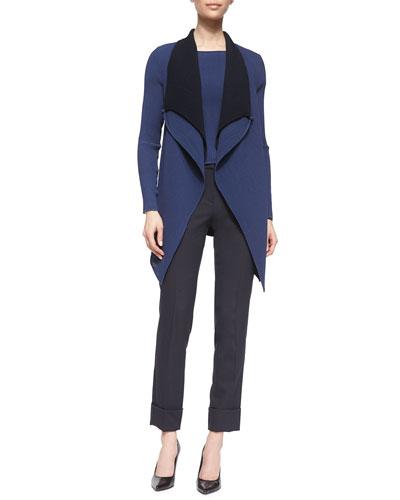 Double-Layer Drape-Lapel Jacket, Plisse Georgette Cap-Sleeve Top & Slim-Fit Cuffed Pants