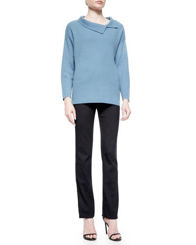 Cashmere Ribbed Split-Collar Sweater & Animal-Embossed Five-Pocket Jeans