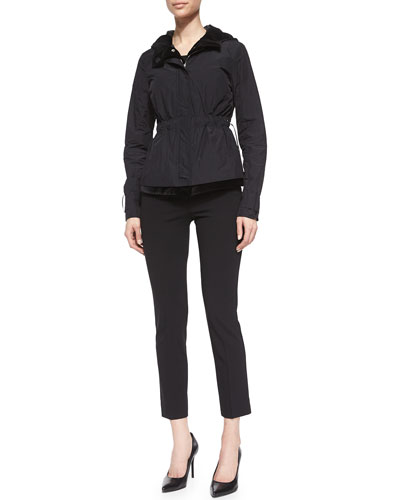 Three-In-One Lightweight Hooded Jacket, Short Sleeve Stripe Velvet Top & Straight-Leg Skinny Ankle Pants