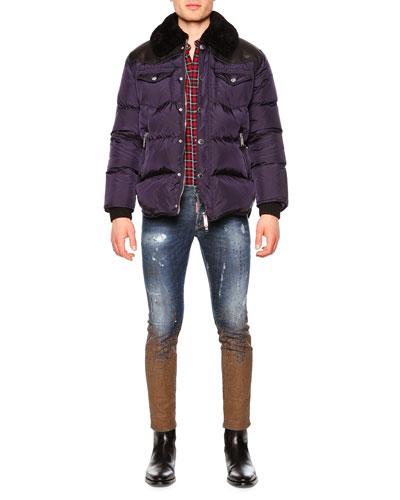 Puffer Jacket w/Shearling Fur Collar, Plaid-Check Long-Sleeve Sport Shirt & Slim-Fit Distressed Mud Denim Jeans