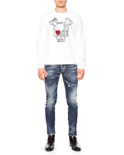 Long-Sleeve Skull w/Red Eye Sweatshirt & Paint-Splatter Distressed Denim Jeans