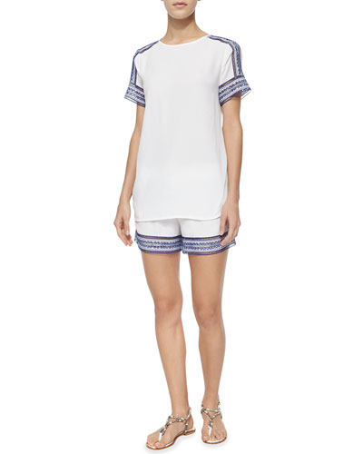 Short-Sleeve Tee W/ Embroidered Trim & Drawstring-Waist Shorts