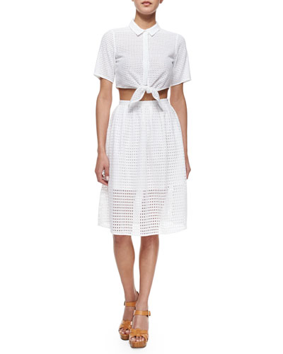 Mini Circle Eyelet Tie-Front Crop Blouse & Eyelet Full Skirt