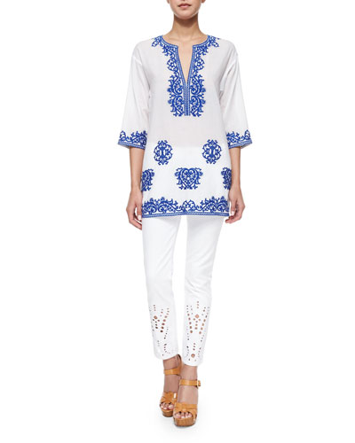 Half-Sleeve Tunic W/ Threadwork & Eyelet-Cuff Skinny Cropped Jeans