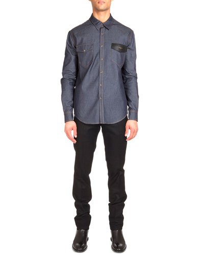 Contrast Stitching Denim Shirt with Leather Detail & Flannel Wool Trousers