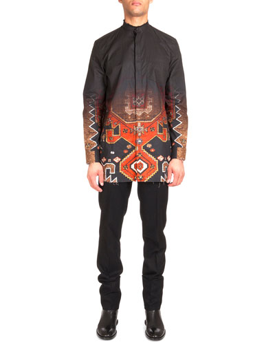 Degrade Persian-Print Long-Sleeve Shirt & Flannel Wool Trousers