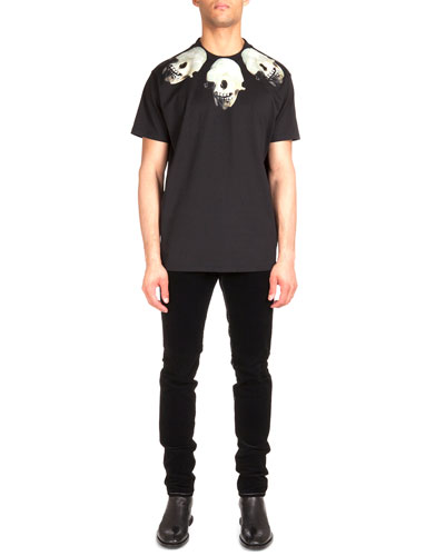 Colombian Skull-Print Jersey Tee & Five-Pocket Cord Denim Jeans