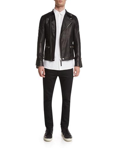 Helmut Lang Basic Rider Leather Moto Jacket, Utility-Pocket
