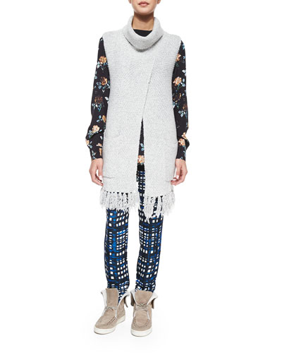 Crossover Turtleneck Fringe-Front Vest, Rose-Print Long-Sleeve Top & Plaid Straight-Leg Silk-Blend Pants