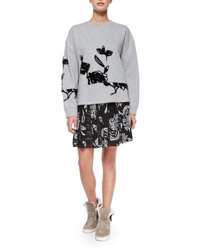 Flocked Floral Sweatshirt & Lace-Inset Pleated Skirt