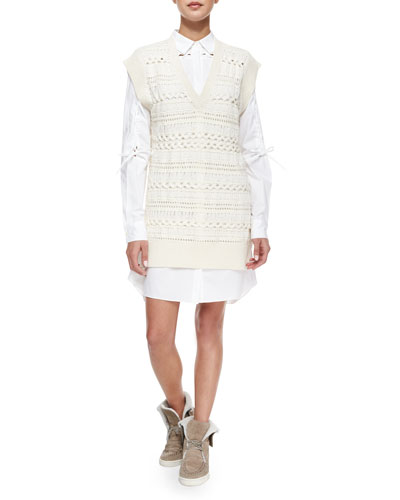 Long Crochet Tunic & Lace-Detail Shirtdress