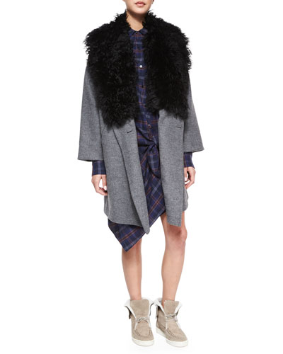 Fur-Trim Cotton-Blend Coat & Long-Sleeve Flannel Side-Tie Dress
