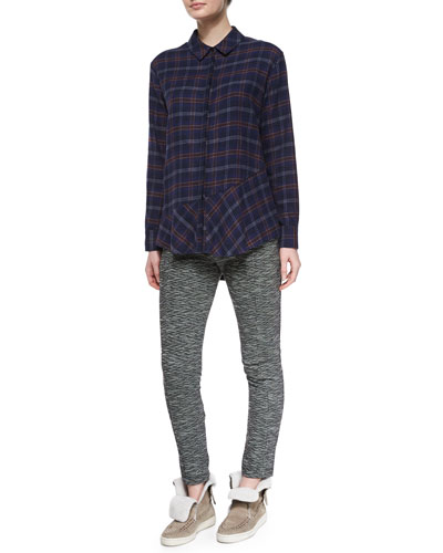 Plaid Flannel Open-Back Shirt & Stretch-Knit Slim-Leg Pants