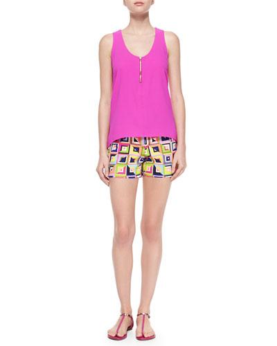 Anais Sleeveless Tank W/ Zipper Front & Corbin Geometric-Print Shorts