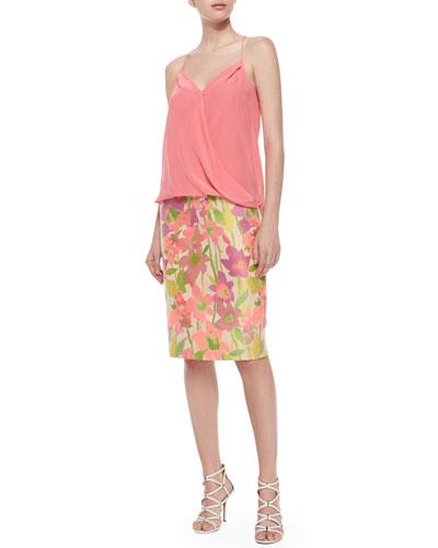 Ally Faux-Wrap Halter Tank & Dorris Floral-Print Pencil Skirt