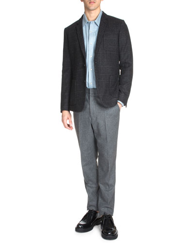 Check Two-Button Wool Blazer, Western Flannel Shirt & Carrot Slim-Fit Trousers