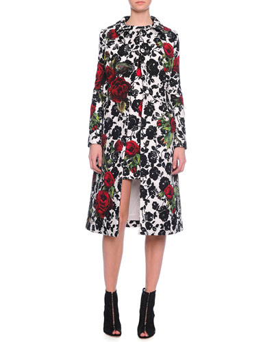Double-Breasted Floral-Print Coat & Rose-Print Narrow Shift Dress