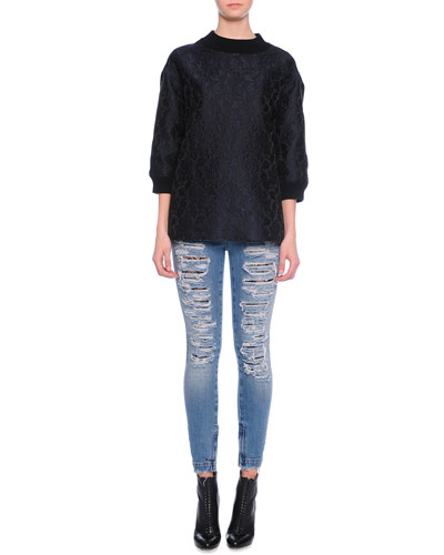 Wide-Band Detail Sweatshirt Top & Distressed Denim Jeans