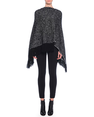 Cashmere Asymmetric-Hem Poncho with Fringe & Ankle-Zip Leggings