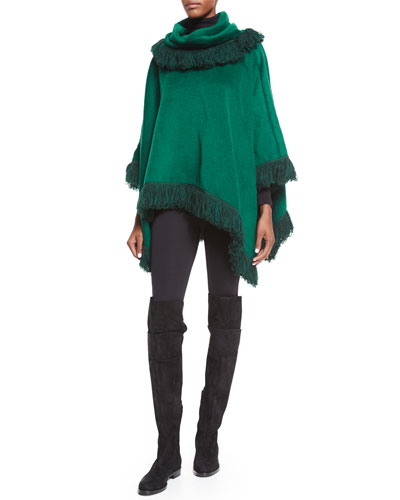 Textured Looped Fringe Poncho & Ankle-Zip Leggings