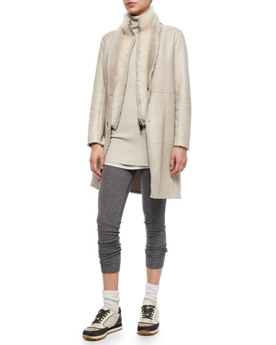 Reversible Shearling Coat w/ Fur Vest, Ribbed Layered Turtleneck Tunic & Cashmere-Blend Shimmer Leggings
