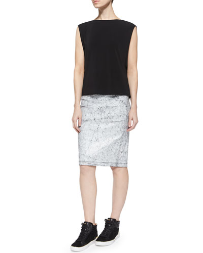 Faint Layering Top & Crackled Leather Lambskin Skirt