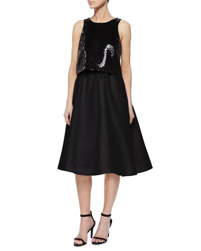 Sleeveless Sequined Crop Top & Luisa Full Tea-Length Skirt