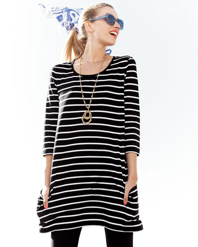 Striped Knit Tunic & Jersey Ankle Leggings, Petite