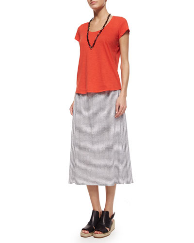 Slubby Short-Sleeve Scoop-Neck Tee & Striped Linen Jersey Flare Knee Skirt, Women's