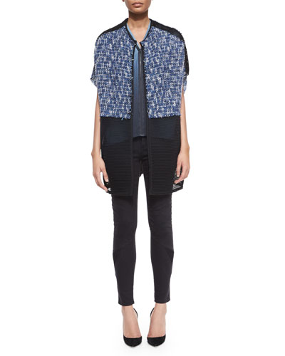 Delilah Tweed Mesh Jacket, Kaylee Sleeveless Zip-Front Blouse & Azella Moto Skinny Jeans