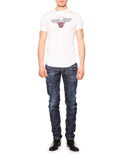 Skull & Helmet-Print Graphic Tee & Distressed Slim-Fit Denim Jeans