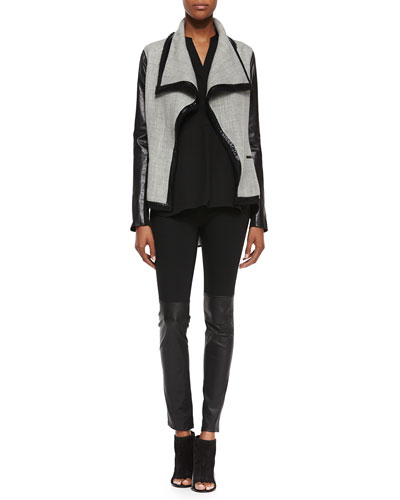 Leather-Sleeve Wool-Blend Boucle Jacket, Contrast-Sleeve Long-Sleeve Top & Mixed Media Leather Leggings