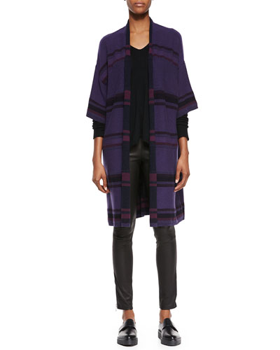 Textured Stripe Wool-Blend Cardigan, Directional Rib Cashmere Sweater & Side-Zip Leather Leggings
