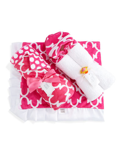 Lattice Blanket, Hooded Towel & Receiving Blanket, Hot Pink/White