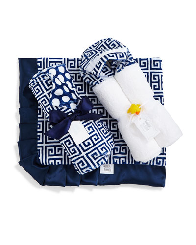 Greek Key Blanket, Hooded Towel & Receiving Blanket, Navy/White