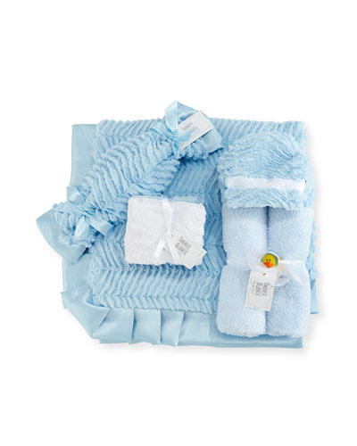 Ziggy Hooded Towel  Receiving Blanket  Security Blanket & Burp Cloth Set  Blue