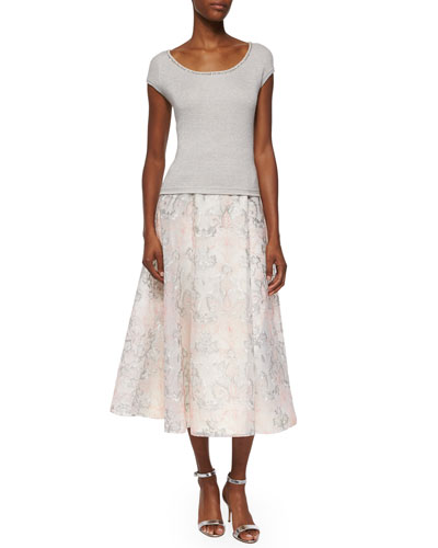 Cap-Sleeve Metallic Knit Top & Organza Jacquard A-line Midi Skirt