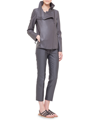 Water Repellant Leather Moto Jacket, Half-Sleeve Silk Jersey Top & Melissa Slim-Fit Techno Pants