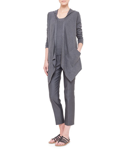 Hooded Silk Jersey Asymmetric Cardigan, Half-Sleeve Silk Jersey Top & Melissa Slim-Fit Techno Pants