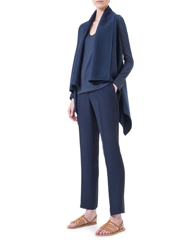 Cashmere Sleeveless Draped Cardigan, Cashmere V-Neck Pullover Top & Frank Crepe Slim Ankle Pants