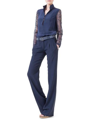 Lace-Inset Split-Neck Blouse & Miranda Front-Pleated Straight-Leg Pants